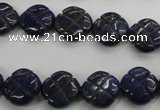 CNL993 15.5 inches 13mm carved flower natural lapis lazuli gemstone beads