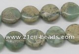 CNS10 16 inches 14mm flat round natural serpentine jasper beads