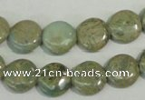 CNS230 15.5 inches 12mm flat round natural serpentine jasper beads