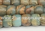 CNS306 15.5 inches 6*8mm rondelle serpentine jasper beads