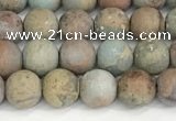CNS346 15.5 inches 8mm round matte serpentine jasper beads