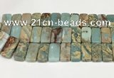 CNS353 7.5 inches 10*20mm rectangle double drilled serpentine jasper beads