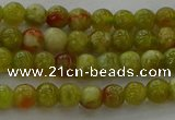CNS600 15.5 inches 4mm round green dragon serpentine jasper beads