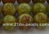 CNS606 15.5 inches 16mm round green dragon serpentine jasper beads