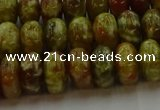CNS613 15.5 inches 7*12mm rondelle green dragon serpentine jasper beads