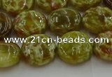 CNS624 15.5 inches 15mm flat round green dragon serpentine jasper beads