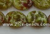 CNS626 15.5 inches 20mm flat round green dragon serpentine jasper beads