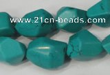 CNT374 15.5 inches 14*18mm faceted nuggets turquoise beads wholesale