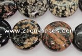 COB155 15.5 inches 20mm flat round snowflake obsidian beads