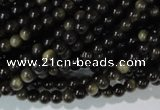 COB251 15.5 inches 4mm round golden obsidian beads wholesale