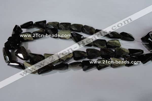 COB271 15.5 inches 15*20mm faceted nuggets golden obsidian beads