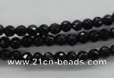 COB351 15.5 inches 5mm faceted round black obsidian beads