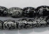 COB54 15.5 inches 12*16mm drum Chinese snowflake obsidian beads