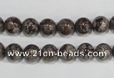 COB552 15.5 inches 8mm round red snowflake obsidian beads wholesale