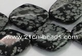 COB60 15.5 inches 18*25mm diamond Chinese snowflake obsidian beads