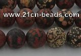 COB673 15.5 inches 10mm round matte red snowflake obsidian beads