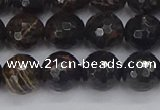 COB687 15.5 inches 10mm faceted round golden black obsidian beads