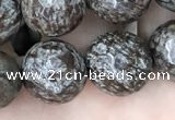 COB694 15.5 inches 12mm faceted round Chinese snowflake obsidian beads