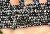 COB758 15.5 inches 4mm round snowflake obsidian beads wholesale