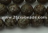 COB814 15.5 inches 12mm faceted round red snowflake obsidian beads