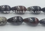 COJ08 15.5 inches 10*20mm teardrop blood jasper gemstone beads