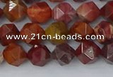 COJ1001 15.5 inches 6mm faceted nuggets red porcelain jasper beads