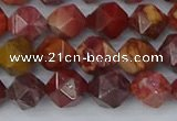 COJ1002 15.5 inches 8mm faceted nuggets red porcelain jasper beads
