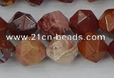 COJ1003 15.5 inches 10mm faceted nuggets red porcelain jasper beads