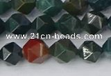 COJ321 15.5 inches 8mm faceted nuggets Indian bloodstone beads