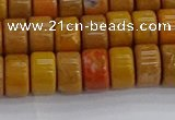 COJ621 15.5 inches 5*8mm heishi orpiment jasper beads