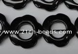 CON110 15.5 inches 22mm carved flower black onyx gemstone beads