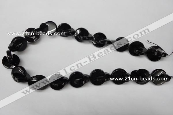 CON115 15.5 inches 18mm curved moon black onyx gemstone beads