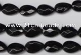 CON72 15.5 inches 8*12mm faceted flat teardrop black onyx gemstone beads