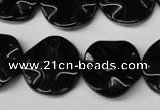 CON95 15.5 inches 19mm wavy coin black onyx gemstone beads