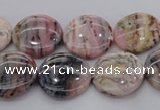 COP1261 15.5 inches 12mm flat round natural pink opal gemstone beads