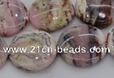 COP1266 15.5 inches 22mm flat round natural pink opal gemstone beads