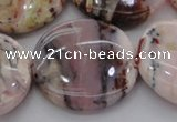 COP1269 15.5 inches 35mm flat round natural pink opal gemstone beads