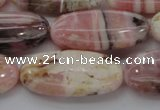 COP1281 15.5 inches 15*30mm oval natural pink opal gemstone beads