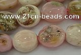 COP1295 15.5 inches 12mm flat round natural pink opal beads