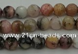 COP1411 15.5 inches 6mm faceted round natural pink opal gemstone beads