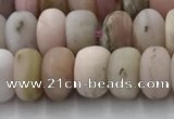 COP1547 15.5 inches 5*8mm rondelle matte natural pink opal beads