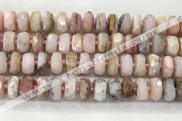 COP1554 15.5 inches 6*13mm - 8*14mm faceted tyre natural pink opal beads