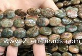 COP1652 15.5 inches 12*16mm oval green opal gemstone beads