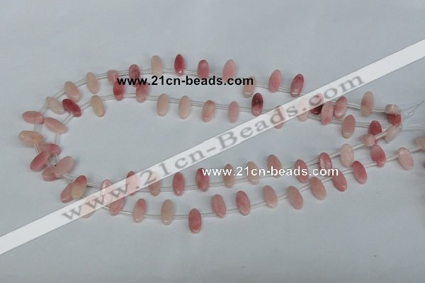 COP169 15.5 inches 6*12mm top-drilled marquise pink opal gemstone beads