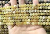 COP1765 15.5 inches 4mm round matte yellow opal beads wholesale