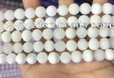 COP1772 15.5 inches 8mm round white opal gemstone beads