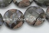 COP278 15.5 inches 25mm faceted round natural grey opal gemstone beads