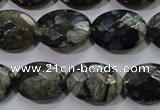 COP487 15.5 inches 13*18mm faceted oval natural grey opal beads