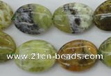 COP550 15.5 inches 15*20mm oval natural yellow & green opal beads