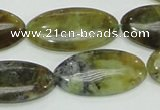 COP554 15.5 inches 15*30mm oval yellow & green natural opal beads
